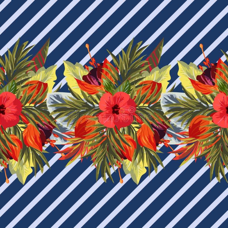 Modelo tropical inconsútil en fondo rayado stock de ilustración