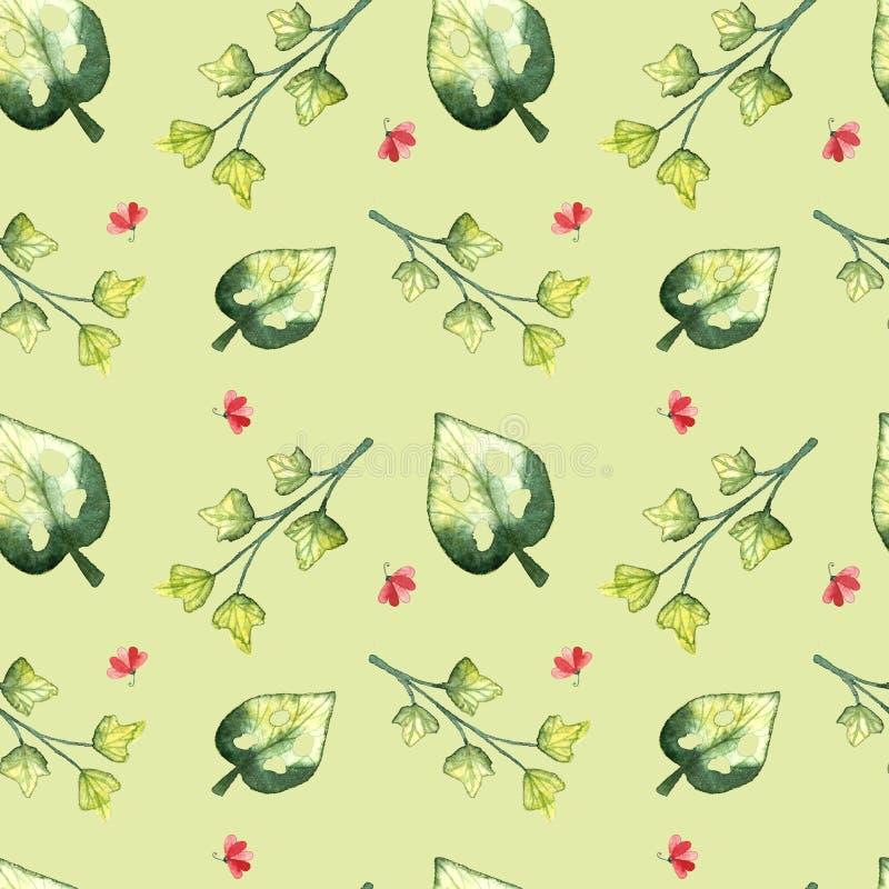 Modelo tropical inconsútil, hojas del frash stock de ilustración