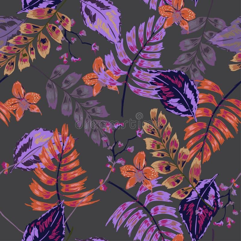 Modelo tropical oscuro artístico hermoso inconsútil del vector de moda ilustración del vector