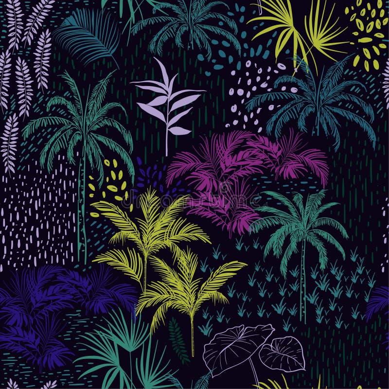Modelo tropical oscuro inconsútil hermoso del bosque del verano stock de ilustración