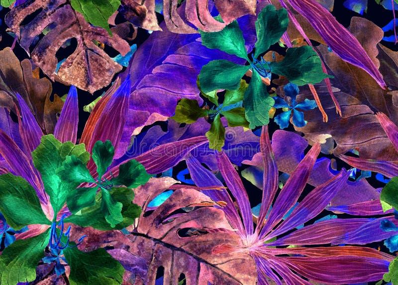 Modelo tropical Palma de Tailandia de la acuarela, monstera, hibisco, árbol de plátano ilustración del vector