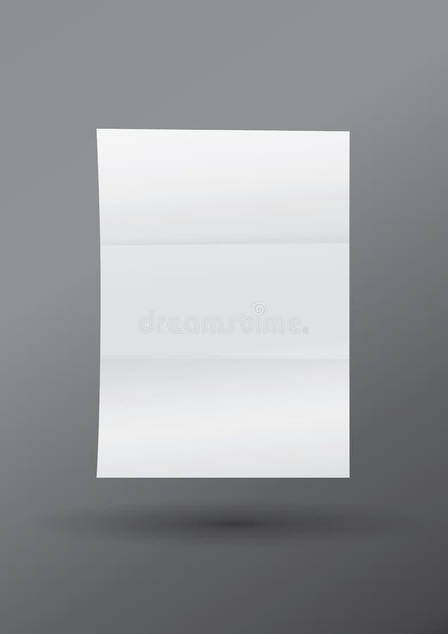 Modelo uma folha vazia branca realística do A4 ilustração stock