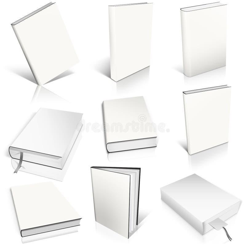Modelo vacío blanco del libro nueve ilustración del vector