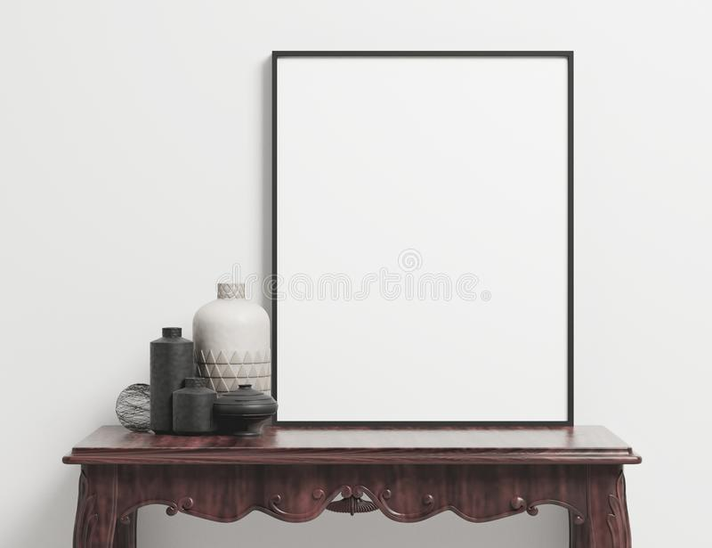 Modelo vazio do estilo vertical do cartaz do retrato ilustração stock