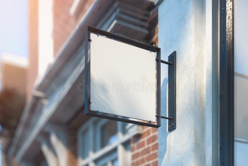 Modelo vazio do quadro indicador da loja Signage vazio da loja Sinal de rua, rendição 3d ilustração royalty free