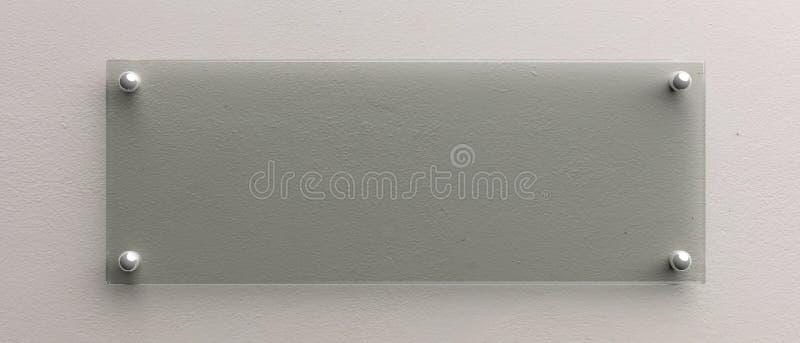 Modelo vazio do sinal da parede de vidro, ilustração 3d Molde do signage do escritório ilustração do vetor