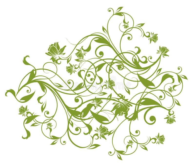 Modelo verde de la flor y de las vides ilustración del vector