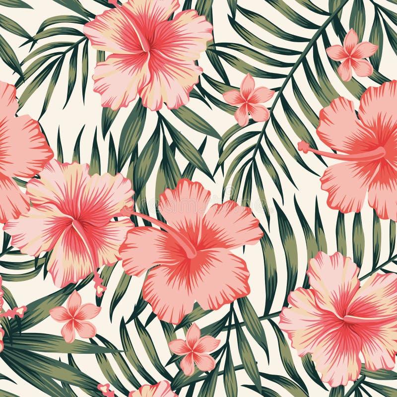 Modelo verde oscuro de las hojas de palma rosadas del hibisco libre illustration