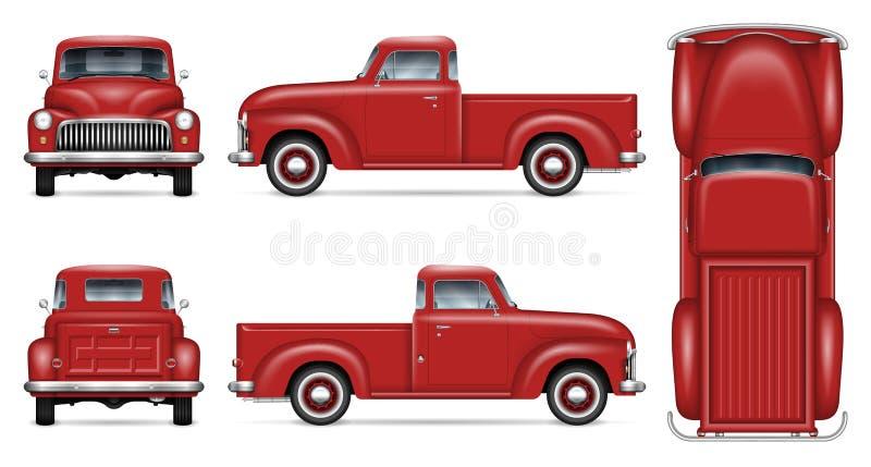 Modelo vermelho clássico do vetor do camionete ilustração royalty free