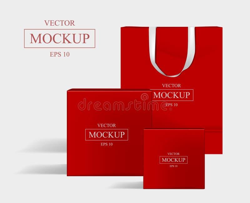 Modelo vermelho criativo Saco de compras e 2 caixas imagens de stock