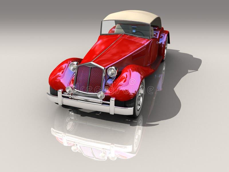 Modelo vermelho do carro 3D do vintage na vista dianteira ilustração do vetor