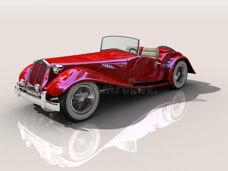 Modelo vermelho do carro de esportes 3D do vintage ilustração royalty free