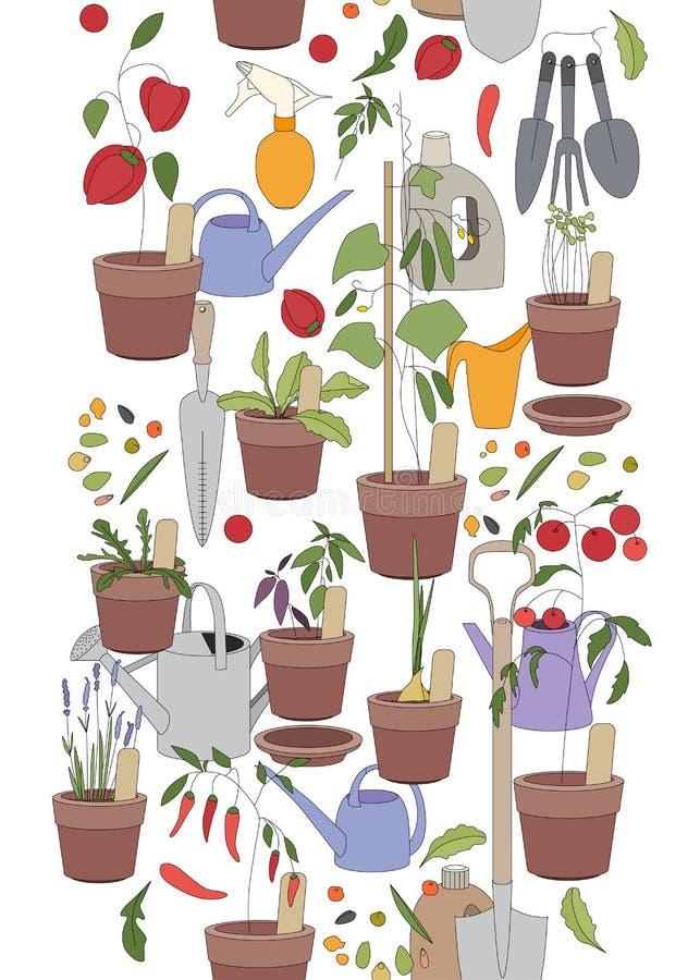 Modelo vertical inconsútil con las herramientas que cultivan un huerto stock de ilustración