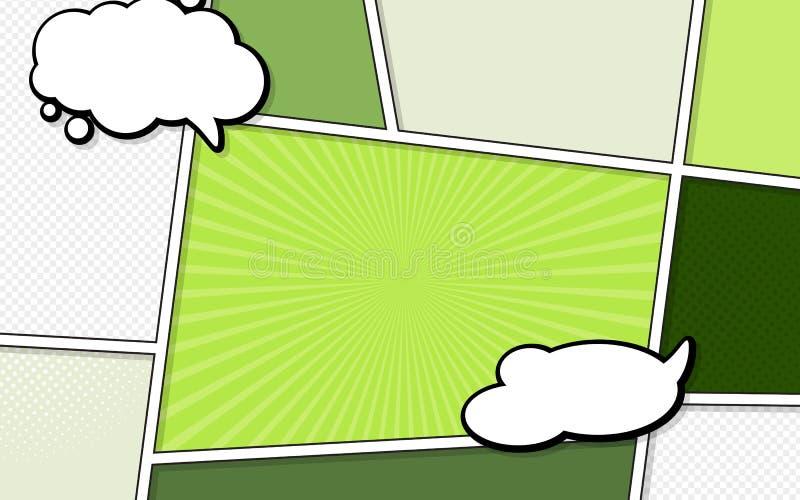 Modelo vetorial de uma típica página de banda desenhada com bolhas de fala Estilo de arte pop Ilustração colorida de vetor Bright ilustração do vetor