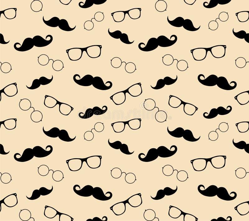 Modelo, vidrios y bigotes del estilo del inconformista. vect stock de ilustración