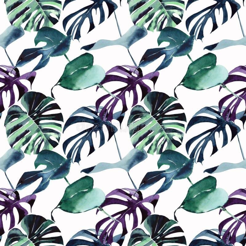 Modelo violeta azulverde de Hawaii del verano herbario floral maravilloso precioso lindo tropical brillante hermoso de la playa d stock de ilustración