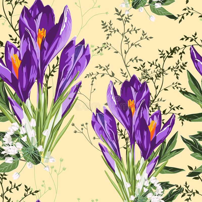 Modelo violeta floral inconsútil de las flores y de las hierbas del azafrán en un fondo amarillo ilustración del vector