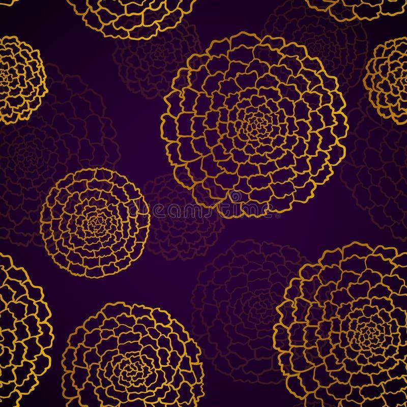 Modelo violeta oscuro inconsútil con las maravillas de oro stock de ilustración