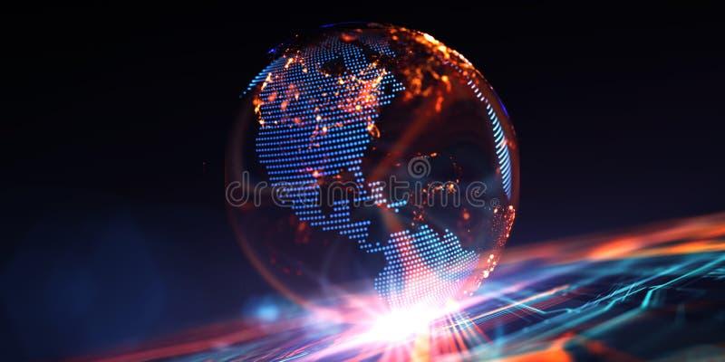 Modelo virtual de las comunicaciones digitales de la tierra stock de ilustración