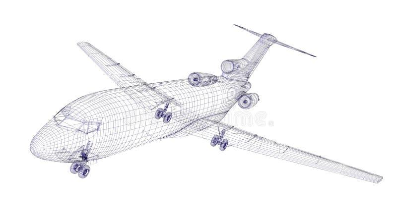 Modelo wireframed azul de los aviones ilustración del vector
