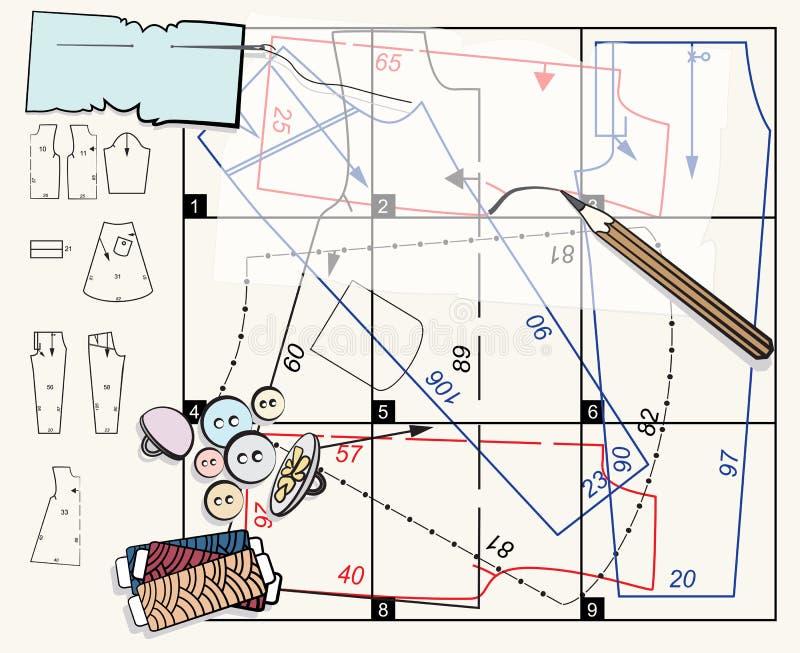 Modelo y accesorios de costura stock de ilustración