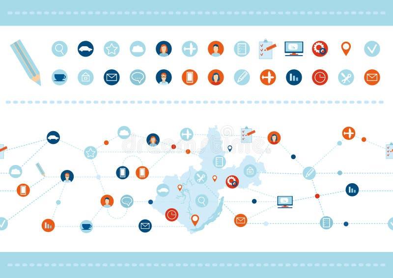 Modelo y sistema inconsútiles de los iconos planos del diseño para el negocio, SEO ilustración del vector