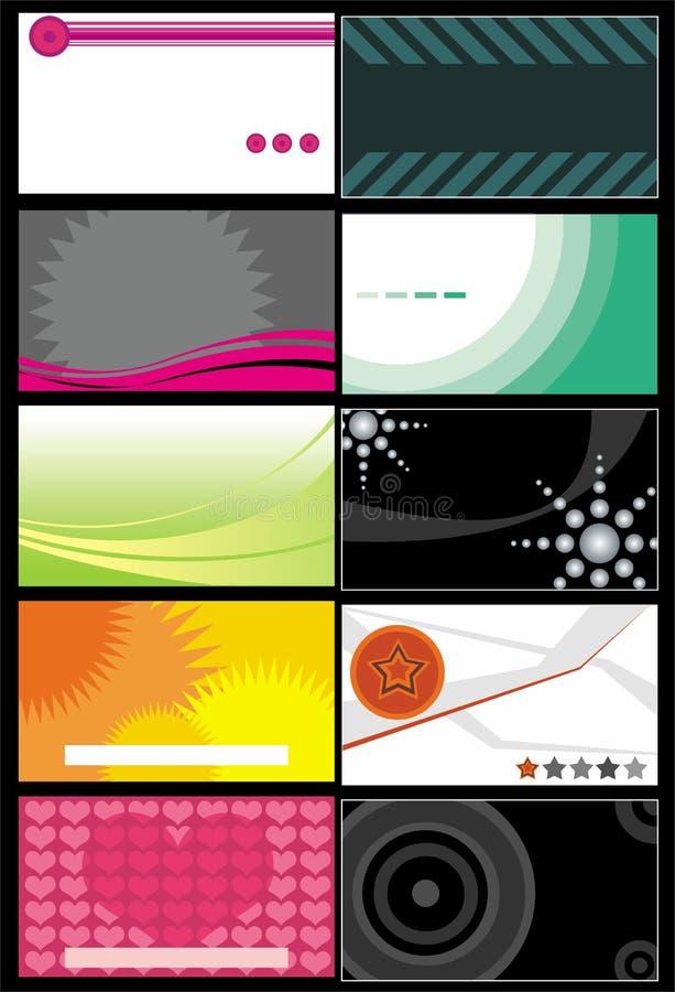 Modelos 7 de las tarjetas de visita ilustración del vector