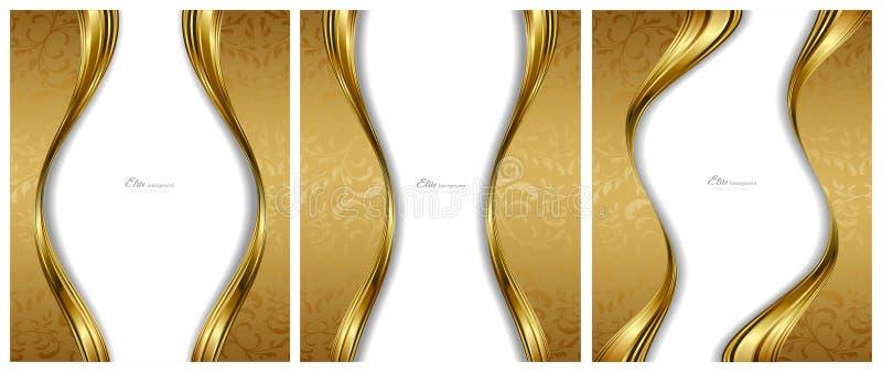 Modelos abstractos de los fondos del oro ilustración del vector