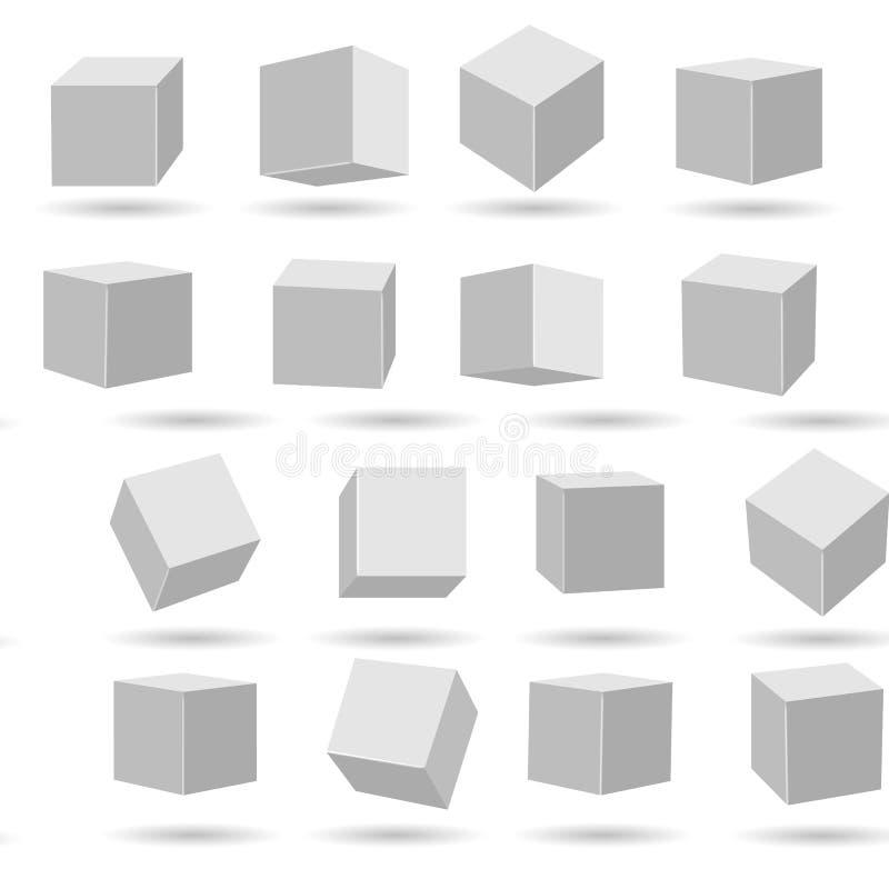 Modelos brancos dos blocos dos cubos ilustração stock