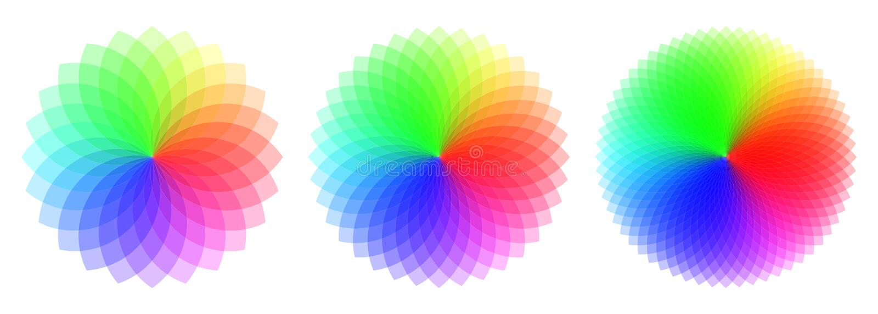 Modelos coloreados con diverso número de elementos Circ del arco iris stock de ilustración