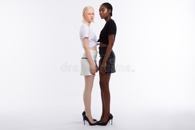 Modelos com a cor da pele diferente que veste sapatas alto-colocadas saltos foto de stock