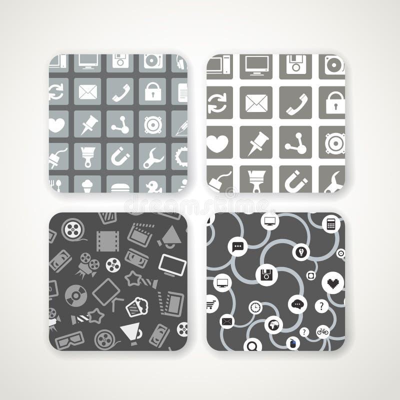 Modelos con los iconos fijados ilustración del vector