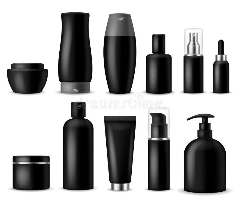 Modelos cosméticos realísticos Cosméticos pretos garrafa, recipiente e frasco Produtos de beleza das mulheres Pulverizador, sabão ilustração do vetor