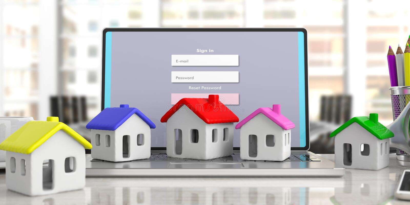 Modelos da casa no portátil do computador, fundo do negócio do escritório ilustração 3D ilustração royalty free