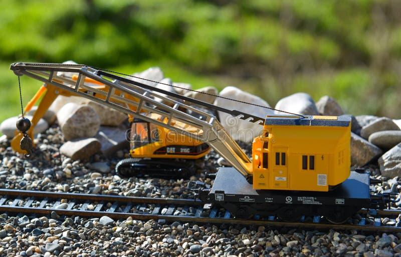 Modelos das estradas de ferro Marklin, guindaste móvel fotos de stock