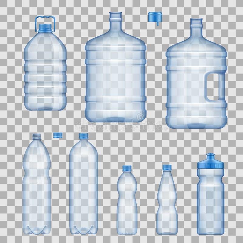 Modelos das garrafas de água e dos recipientes, vetor ilustração do vetor