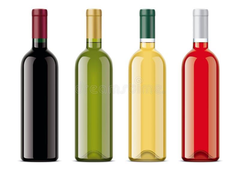 Modelos das garrafas de vinho ajustados ilustração royalty free