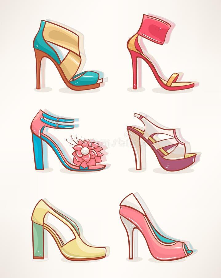 Modelos das sapatas das mulheres - 2 ilustração royalty free