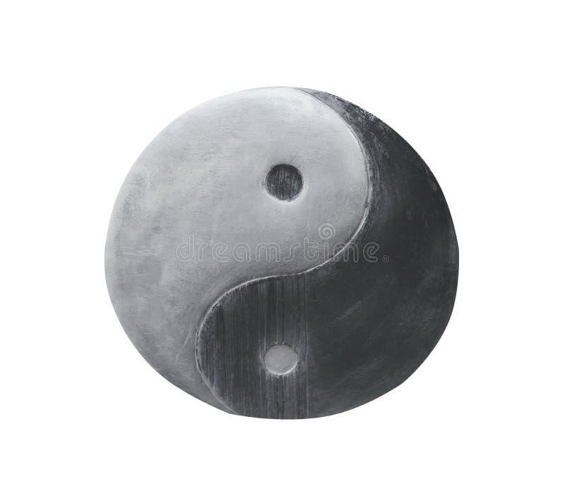Modelos de acero de la textura de Yin Yang aislados en el fondo blanco con la trayectoria de recortes fotos de archivo