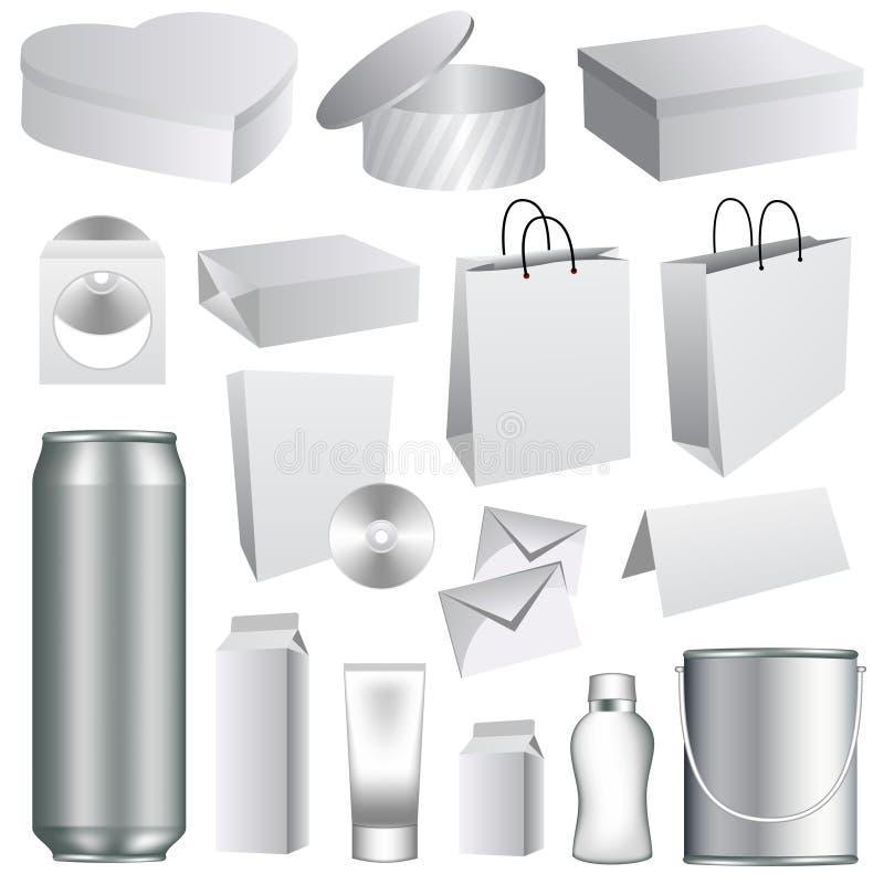 Modelos de empaquetado en blanco ilustración del vector