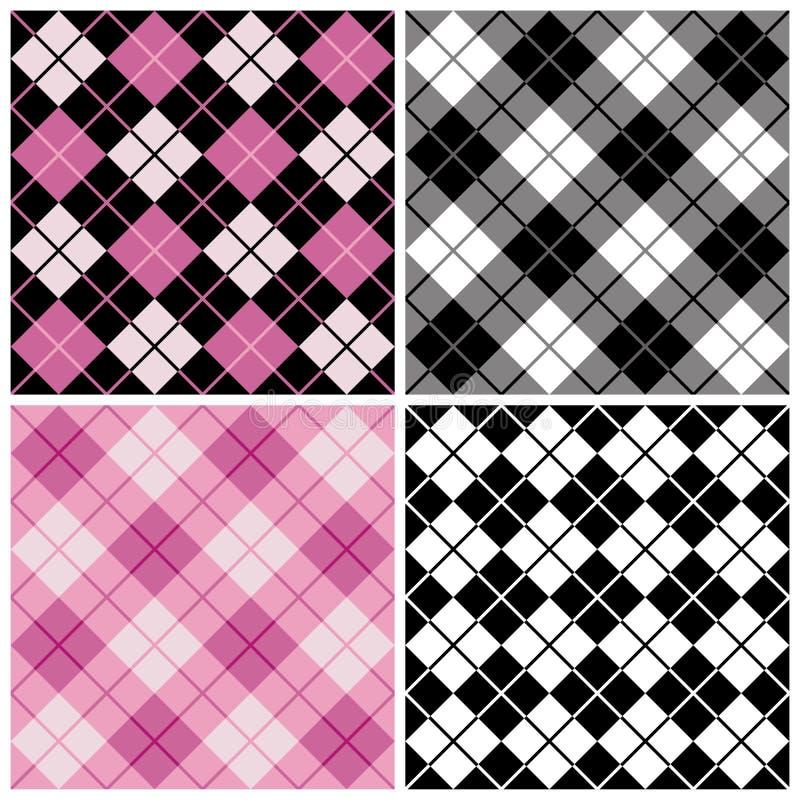 Modelos de la Argyle-Tela escocesa en negro y color de rosa ilustración del vector