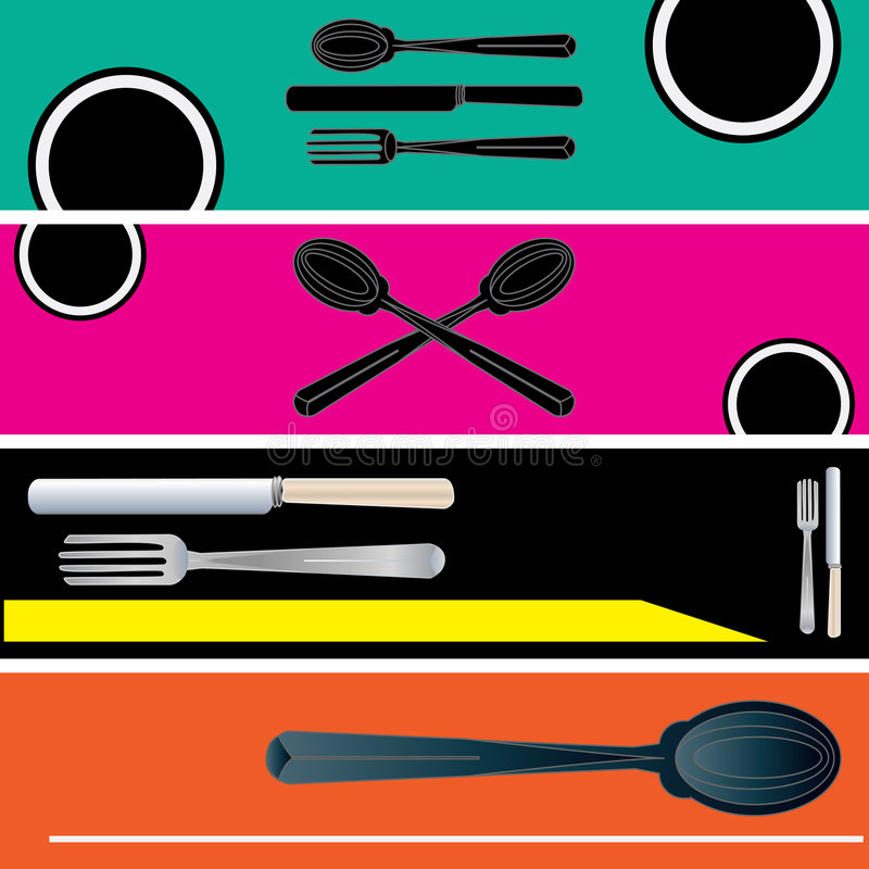 Modelos de la bandera del Web del restaurante libre illustration