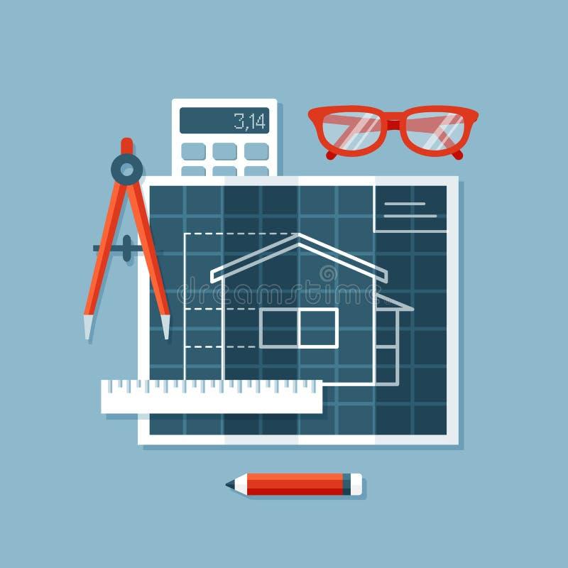 Modelos de la construcción, ingenieros compás o divisor, regla, calculadora y vidrios stock de ilustración