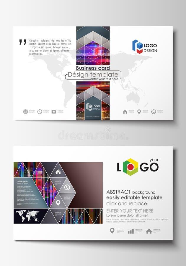 Modelos de la tarjeta de visita Disposición editable fácil, plantilla abstracta del diseño del vector Fondo de Glitched hecho de  libre illustration
