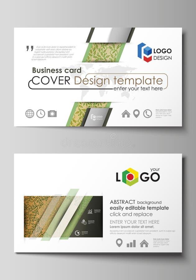 Modelos de la tarjeta de visita Disposiciones editable fáciles, plantilla del vector Diseño de madera abstracto del color verde T stock de ilustración