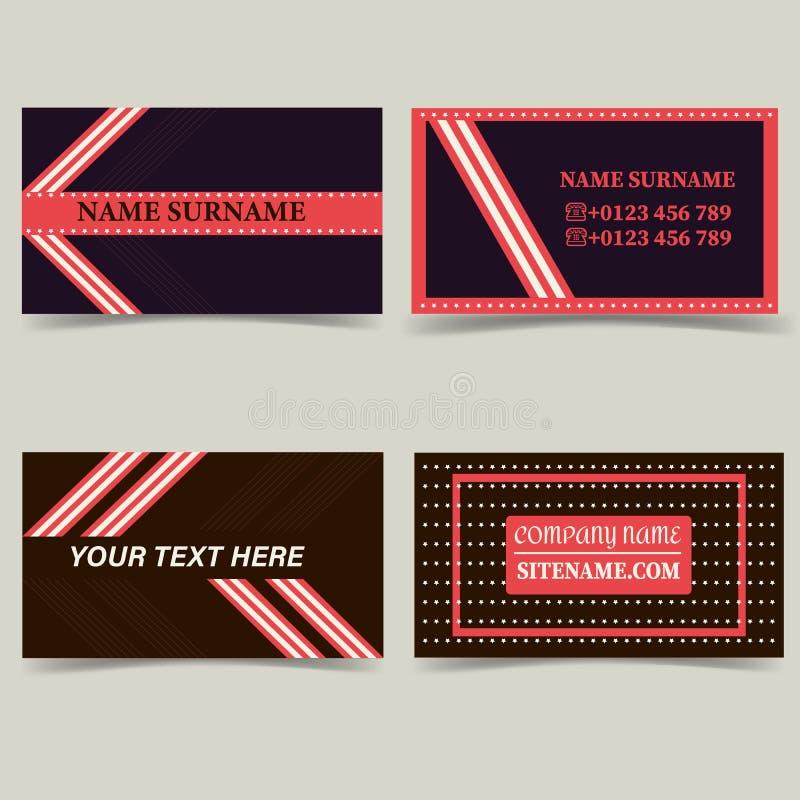 Modelos de la tarjeta de visita Coloree el marrón oscuro con rosa, con las rayas y las estrellas stock de ilustración