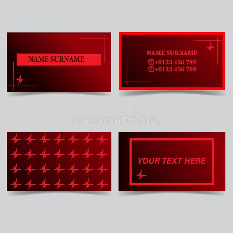 Modelos de la tarjeta de visita Sistema del vector del diseño de los efectos de escritorio Rojo y negro ilustración del vector