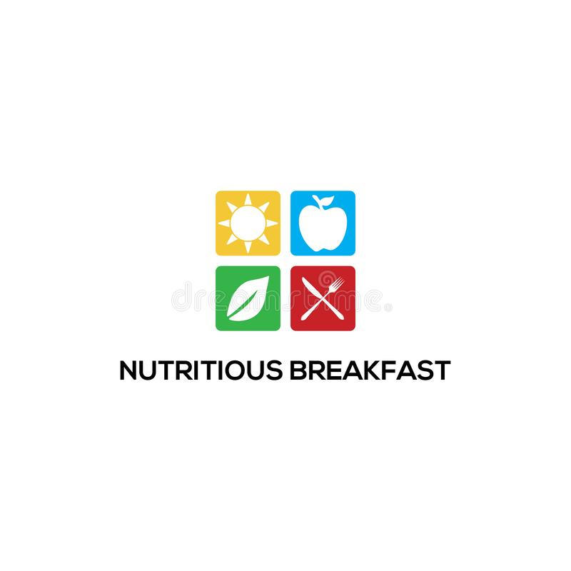 Modelos de logotipo Nutritivos do Breakfast, inspirações de logotipo saudáveis ilustração do vetor