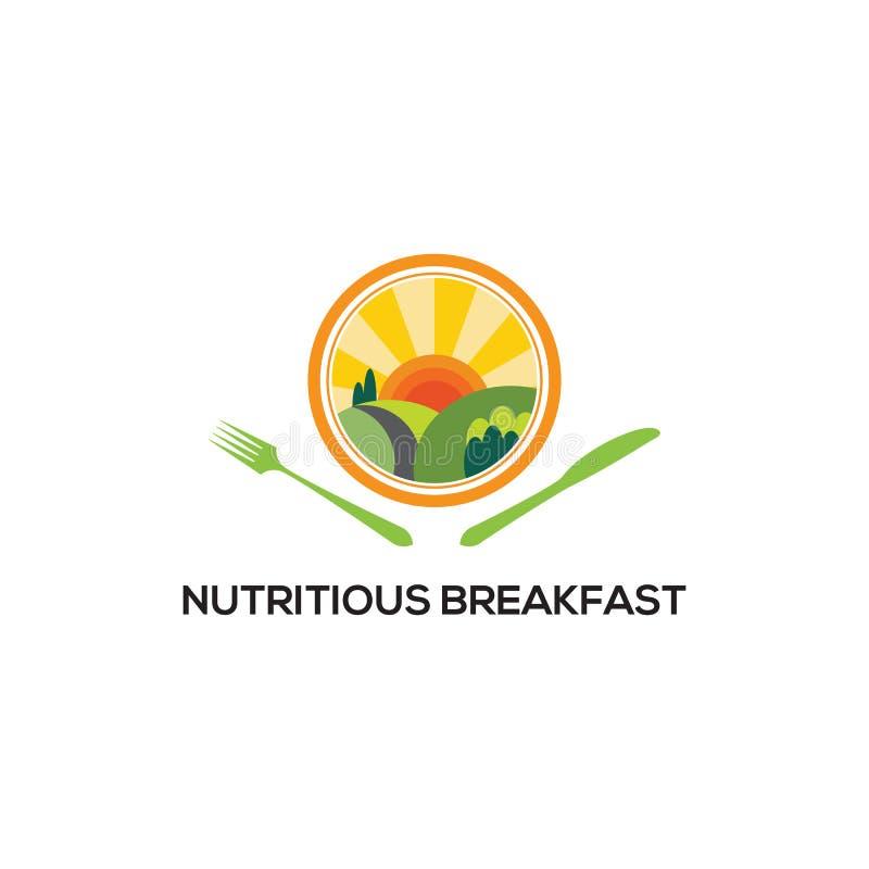 Modelos de logotipo Nutritivos do Breakfast, inspirações de logotipo saudáveis ilustração royalty free