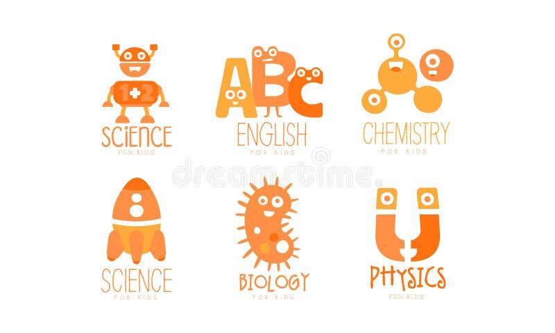 Modelos de Logotipo para Educação de Crianças Conjunto, Química, Física, Biologia, Rotulagem Laranja Inglesa Ilustração vetorial ilustração stock